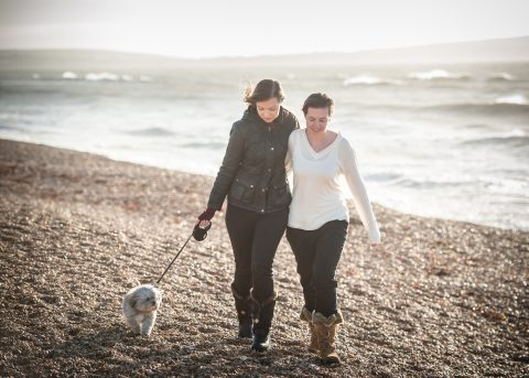 Hampshire and Dorset Lifestyle portrait photography - Sillick Photography - Dog walking on Barton Beach