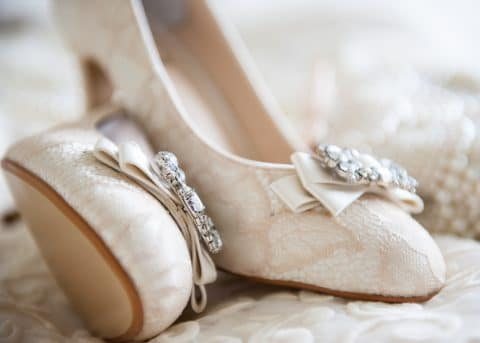 Hampshire and Dorset wedding photographer - detail shot of brides shoes - Holiday Inn Southampton - Sillick Photography